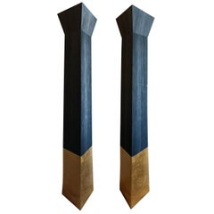 Monumental Gilded Ceramic, Sandblasted and Painted Douglas Fir Torchères