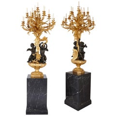 Monumental Gilt and Patinated Bronze Candelabra by Beurdeley
