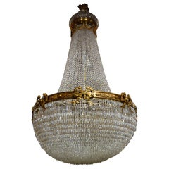 Monumental Gilt Bronze and Crystal Basket Style Chandelier by Baccarat
