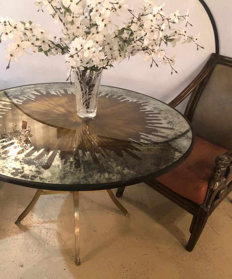 Monumental Gilt Gold and Silver Glass Art Deco Sunburst Mirror or Table Top In Good Condition For Sale In Stamford, CT