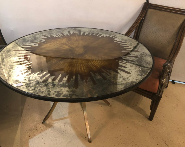 20th Century Monumental Gilt Gold and Silver Glass Art Deco Sunburst Mirror or Table Top For Sale
