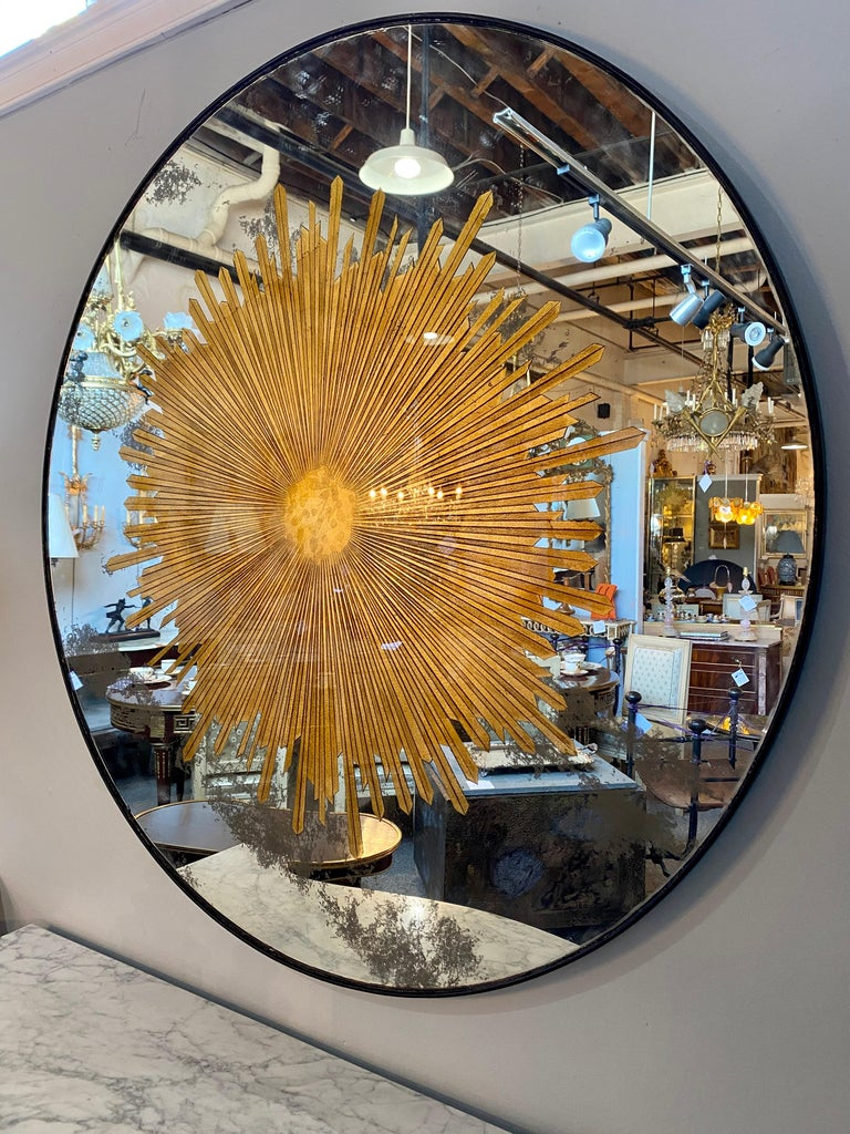 Monumental Gilt Gold and Silver Glass Sunburst Mirrors or Table Top Pair For Sale 6