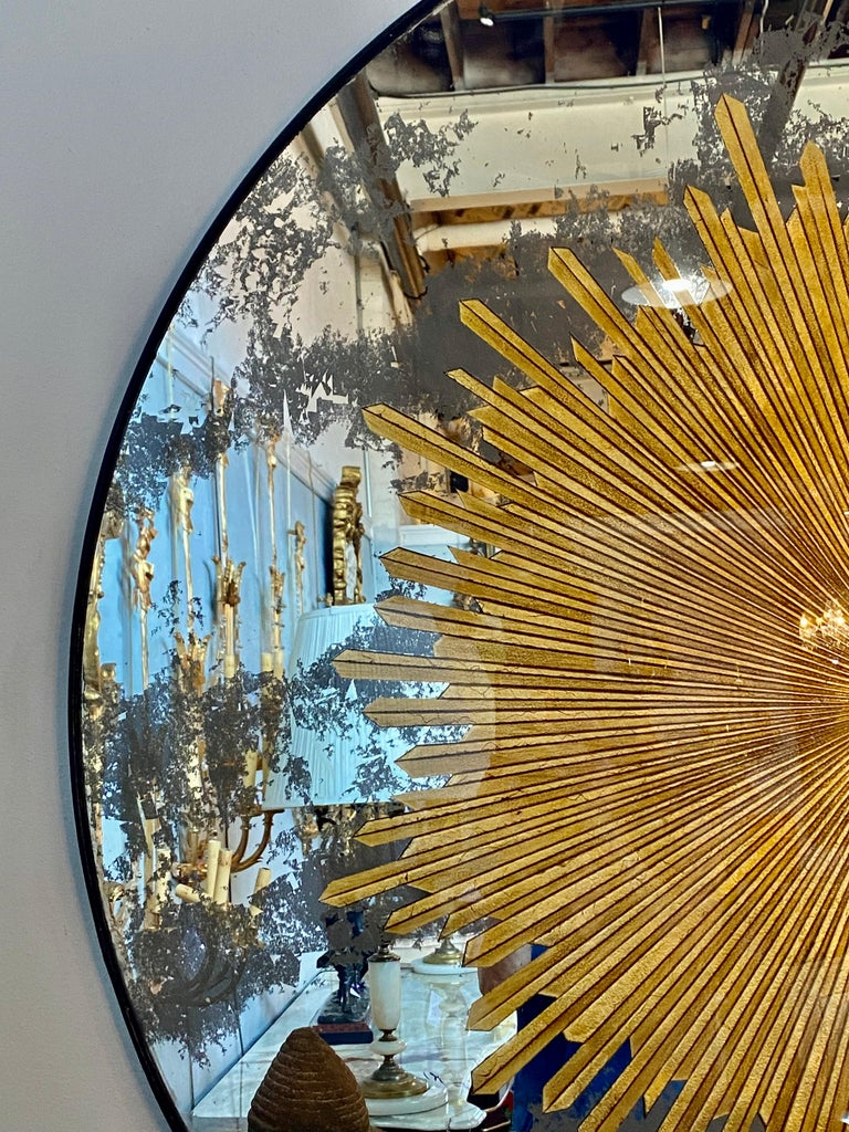 Monumental Gilt Gold and Silver Glass Sunburst Mirrors or Table Top Pair For Sale 10