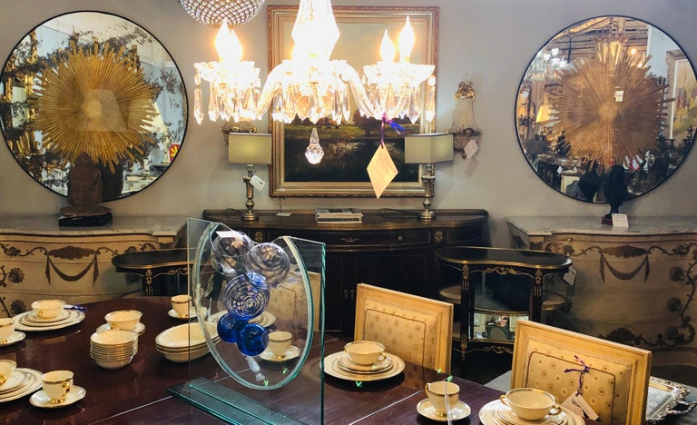 Monumental Gilt Gold and Silver Glass Sunburst Mirrors or Table Top Pair For Sale 2