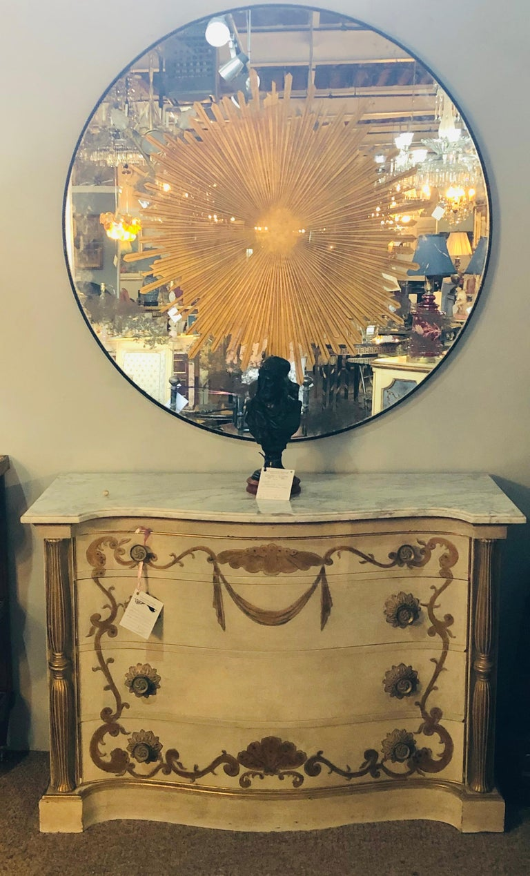 Monumental Gilt Gold and Silver Glass Sunburst Mirrors or Table Top Pair For Sale 3