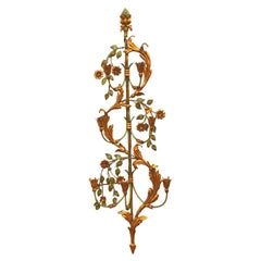Monumental Gilt Metal Leafs Tole Hollywood Regency Sconce Palladio, Italy