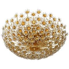 Monumental Gilt Sunburst Crystal Flower Palwa 15 Light Flush Mount Chandelier