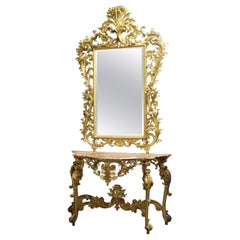 Monumental Giltwood Florentine Mirror with Marble-Top Console Table, circa 1940