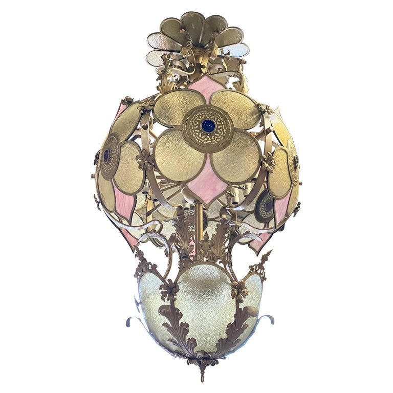 Monumental Glass and Iron Deco/ Victorian Fantasy Chandelier / Pendant Lighting For Sale