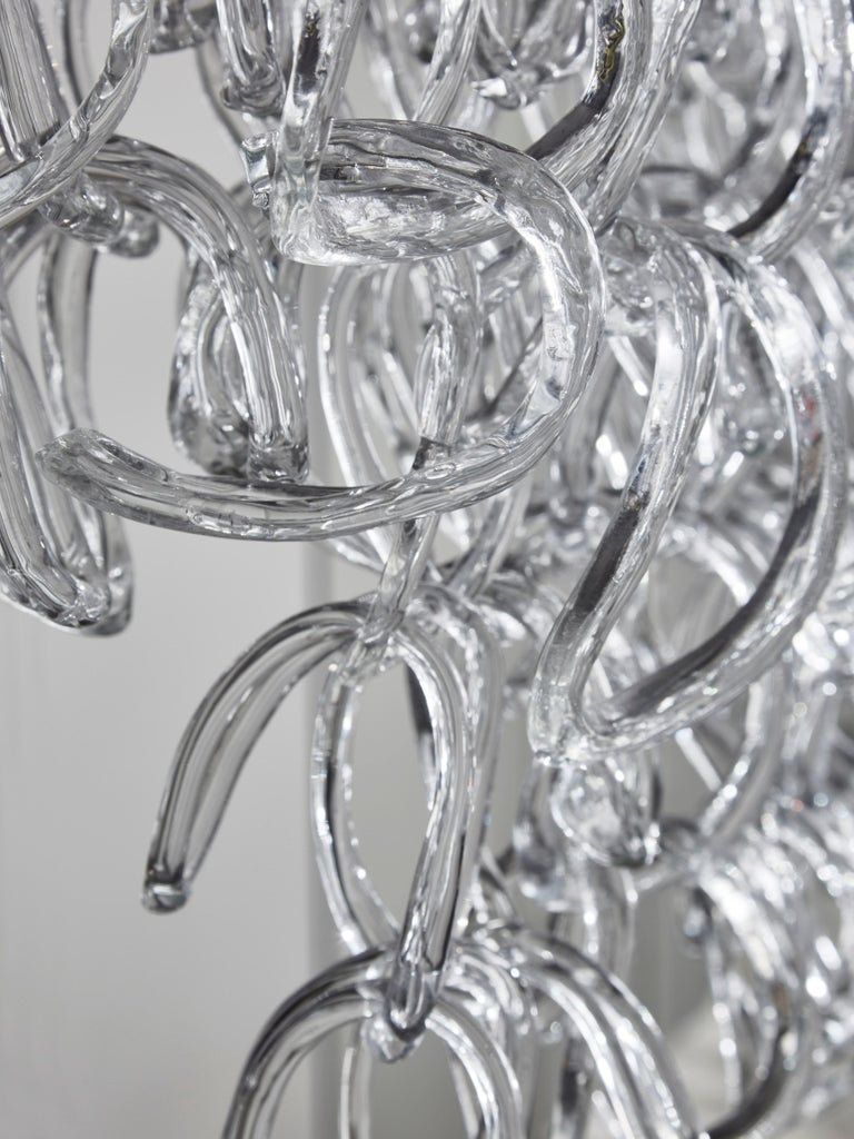 Monumental Glass Chandelier by Angelo Mangiarotti for Vistosi For Sale 3