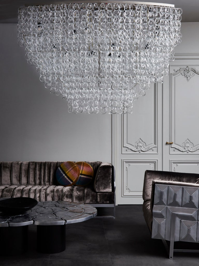 Mid-Century Modern Monumental Glass Chandelier by Angelo Mangiarotti for Vistosi For Sale