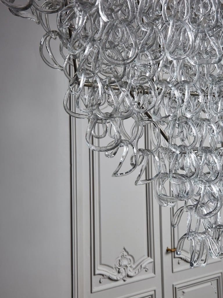 Steel Monumental Glass Chandelier by Angelo Mangiarotti for Vistosi For Sale