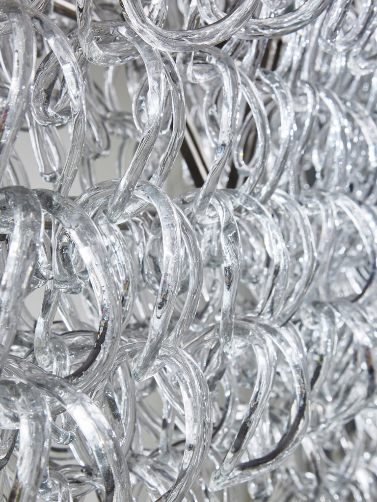 Monumental Glass Chandelier by Angelo Mangiarotti for Vistosi For Sale 2