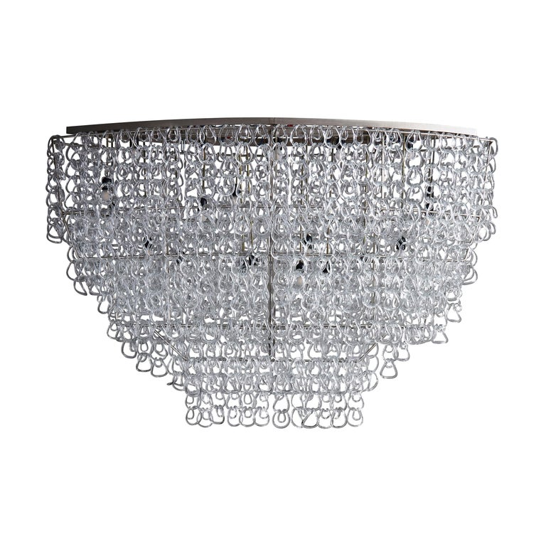 Monumental Glass Chandelier by Angelo Mangiarotti for Vistosi For Sale