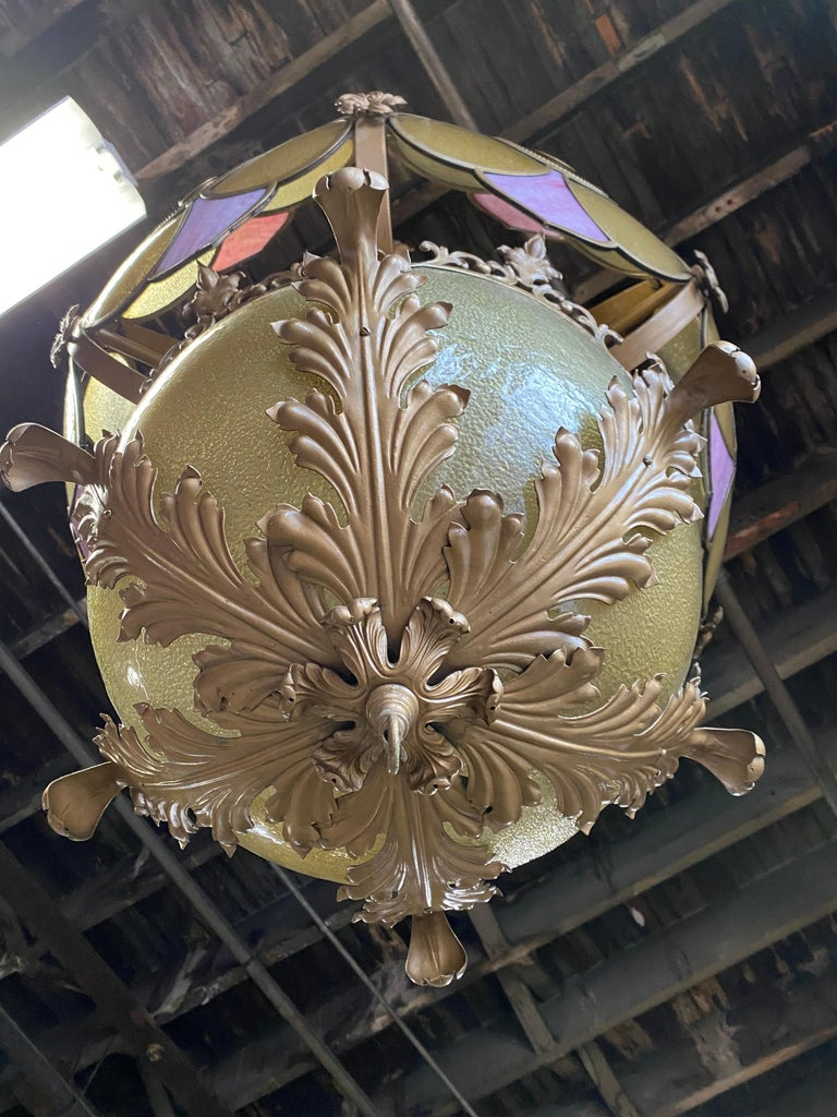 Hollywood Regency Monumental Glass and Iron Deco/ Victorian Fantasy Chandelier / Pendant Lighting For Sale