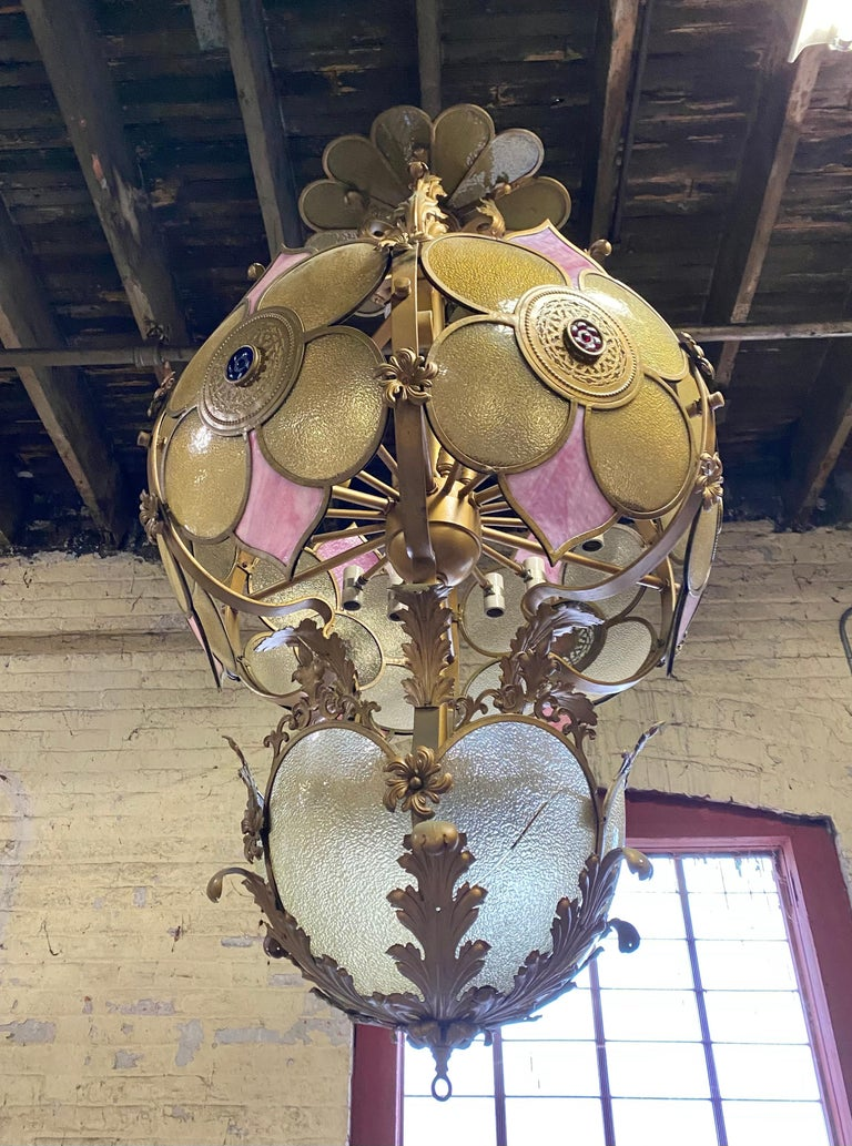 Monumental Glass and Iron Deco/ Victorian Fantasy Chandelier / Pendant Lighting In Good Condition For Sale In Buffalo, NY