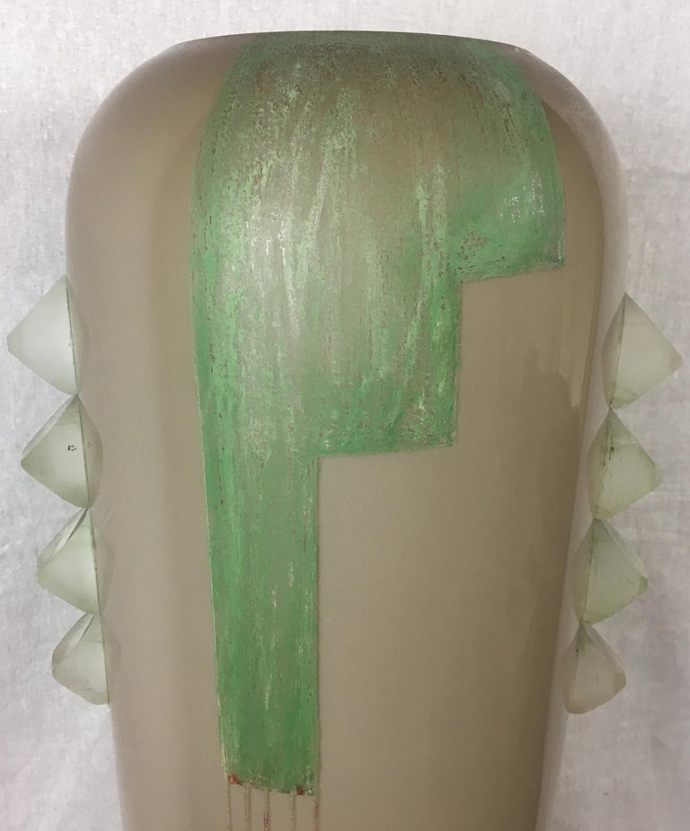 French Iconic Art Deco Cubist Vase by A. Riecke from La Coupole Brasserie, Paris France For Sale