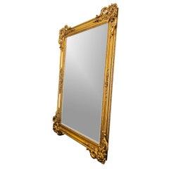 Monumental Gold Craved Framed Beveled Mirror