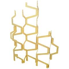 Monumental Gold Metal Room Divider Design, 1970s