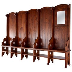 Monumental Gothic Revival Hall Tree Bench Seating with Storage