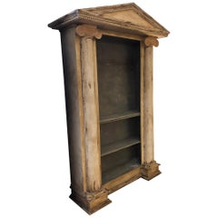 Monumental Greek Revival Style Carved Wood Antiqued Ivory Open Bookcase