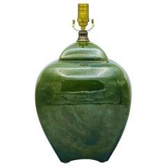 Monumental Green Ceramic Jar Lamp, 1980s