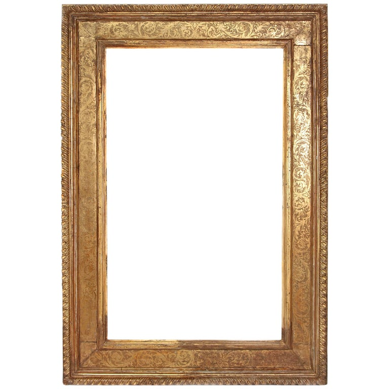 Monumental Hand Carved And Gilded Florentine Picture Frame