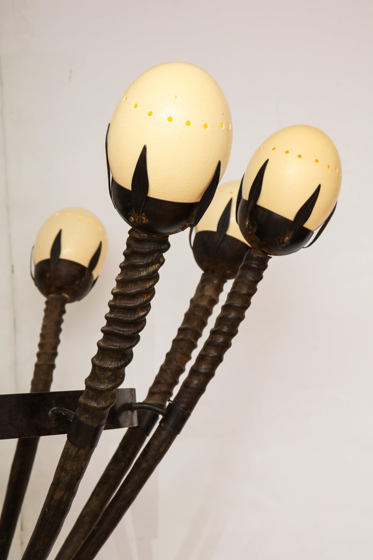 Monumental Handcrafted Ostrich Egg and Horn Chandelier For Sale 6