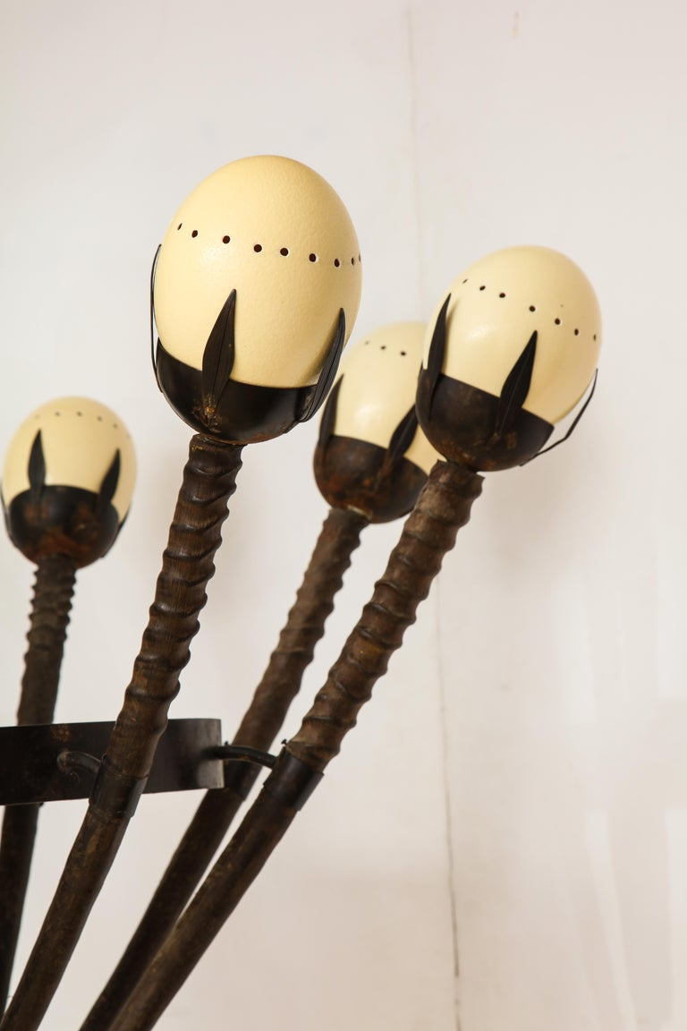 Monumental Handcrafted Ostrich Egg and Horn Chandelier For Sale 9