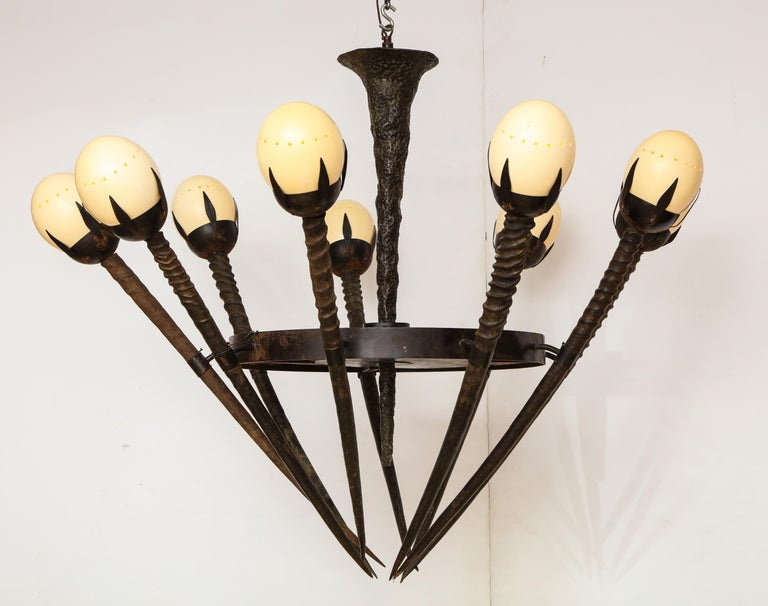 French Monumental Handcrafted Ostrich Egg and Horn Chandelier For Sale
