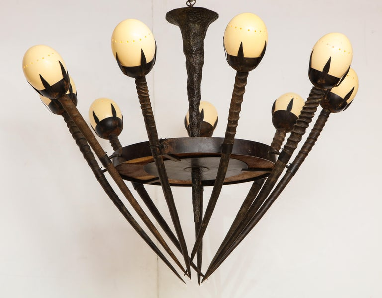 Monumental Handcrafted Ostrich Egg and Horn Chandelier In Good Condition For Sale In Mt. Kisco, NY