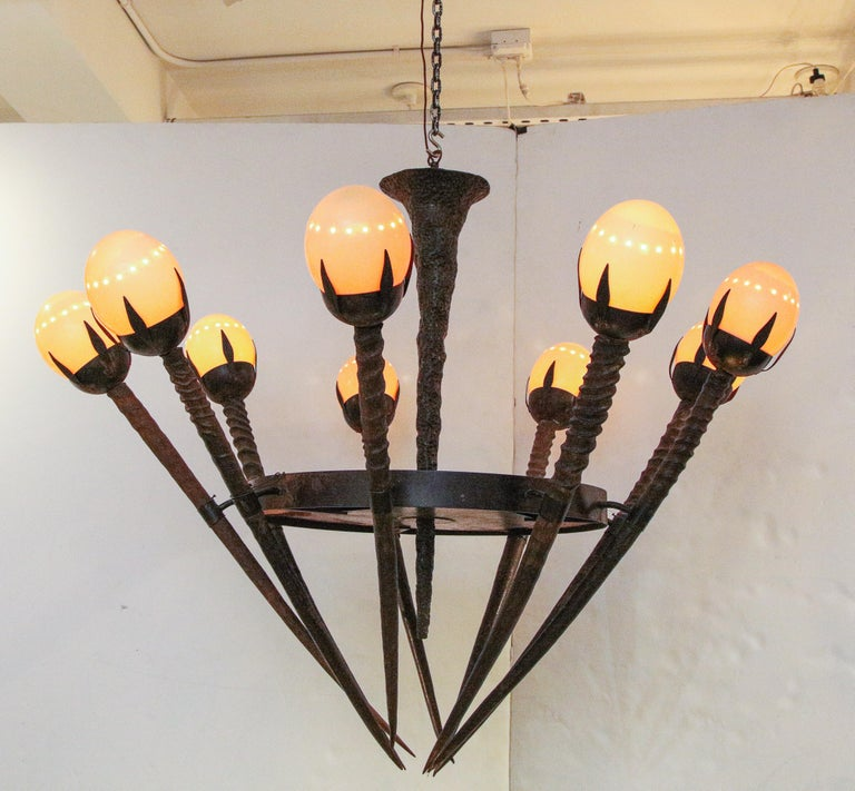 Contemporary Monumental Handcrafted Ostrich Egg and Horn Chandelier For Sale