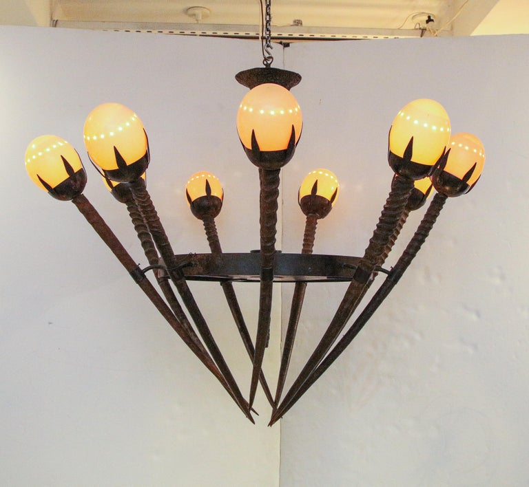 Bronze Monumental Handcrafted Ostrich Egg and Horn Chandelier For Sale
