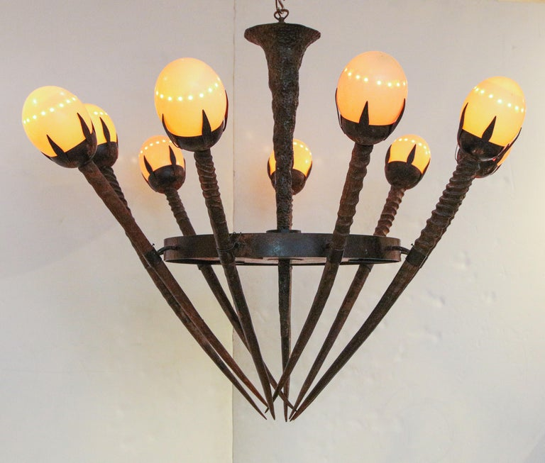 Monumental Handcrafted Ostrich Egg and Horn Chandelier For Sale 1
