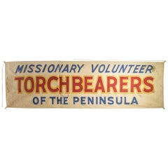 Monumental Hand Painted Canvas Banner, circa 1940
