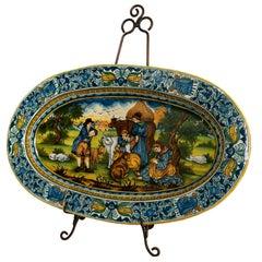 Monumental Hand Painted Italian Maiolica Platter