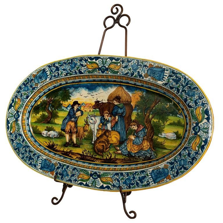 Monumental Hand Painted Italian Maiolica Platter For Sale