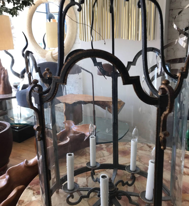American Louis XVI Style  Wrought Iron and Glass Large Hanging Hall Lantern For Sale