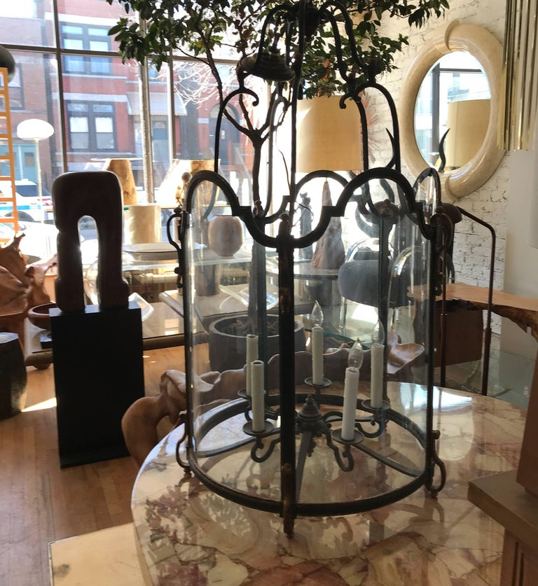 Forged Louis XVI Style  Wrought Iron and Glass Large Hanging Hall Lantern For Sale