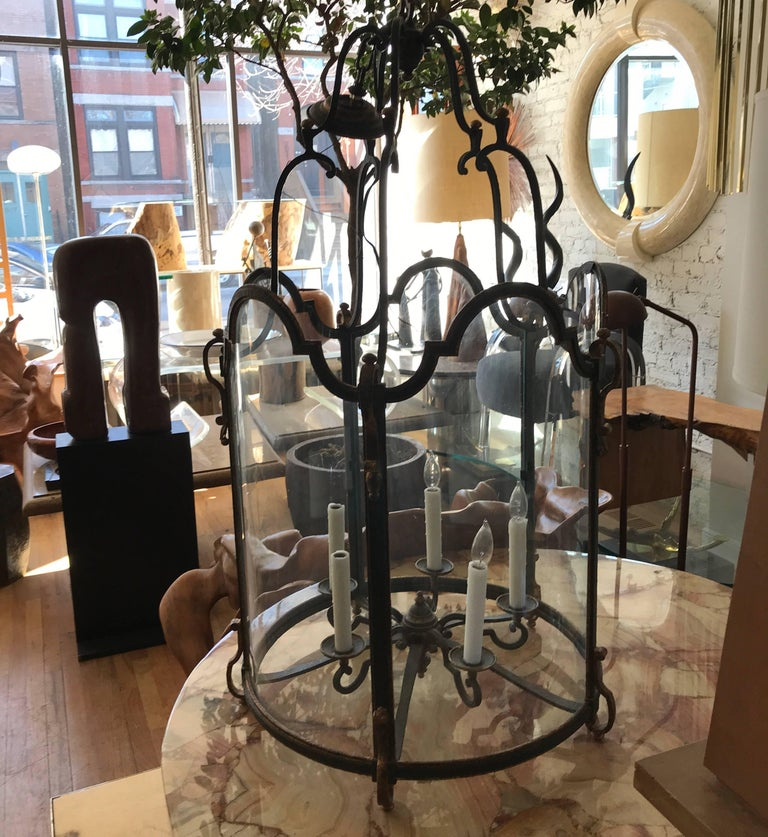 Louis XVI Style  Wrought Iron and Glass Large Hanging Hall Lantern For Sale 1