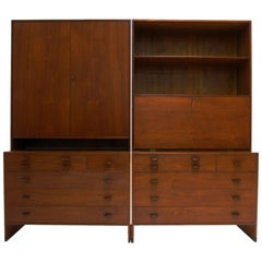 Monumental Hans J. Wegner for Ry Furniture Wall Unit with Chests and Secretary