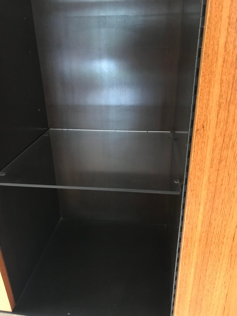 American Monumental Harvey Probber Cabinet with Doors and Shelves with Alternating Woods For Sale