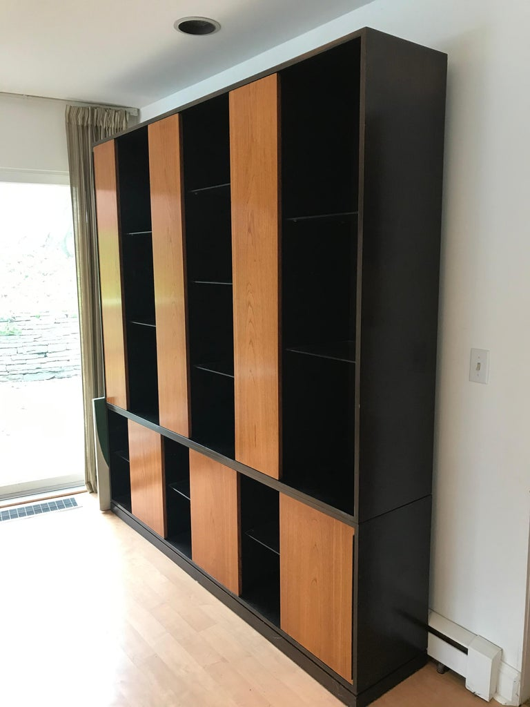 Ebonized Monumental Harvey Probber Cabinet with Doors and Shelves with Alternating Woods For Sale