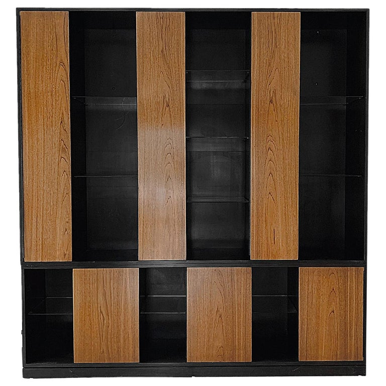 Monumental Harvey Probber Cabinet with Doors and Shelves with Alternating Woods For Sale