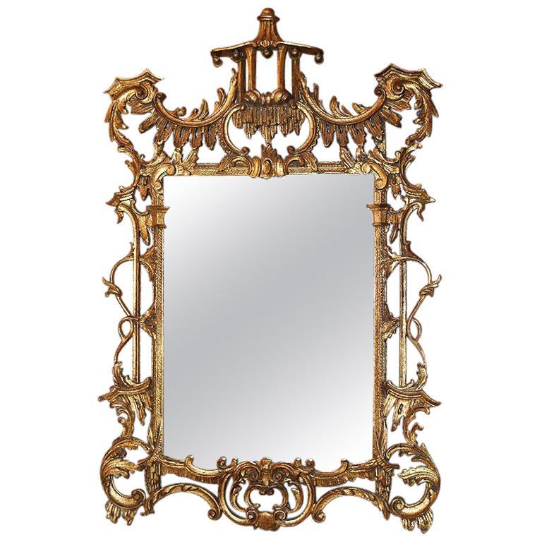 Monumental Hollywood Regency Chinoiserie Giltwood Gold Pagoda Mirror