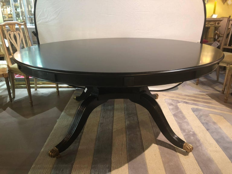Monumental Hollywood Regency Custom-Made Ebony Circular Extending Dining Table For Sale 6
