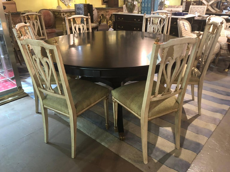 Monumental Hollywood Regency Custom-Made Ebony Circular Extending Dining Table For Sale 10