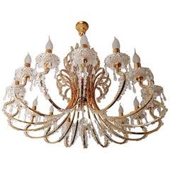 Monumental Hollywood Regency French Cut-Crystal Beads, Gilt 19-Light Chandelier