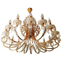 Monumental Hollywood Regency French Cut-Crystal Beads, Gilt 19-Light Chandelier