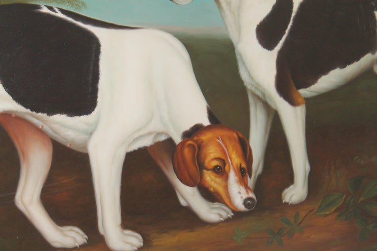 This amazing hand painted large oil painting of two hunting dogs or hounds is in very good condition and in the original gilded frame. Wired and ready for hanging. The condition is very good. Painted by by artists William Skilling.